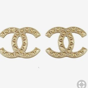 AUTHENTIC Chanel CC Gold Pyramid Stud Earrings